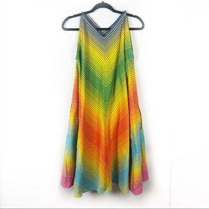 Cabana Vintage Rainbow Striped Dress Sleeveless